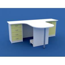 Стол врача эргономичный на два рабочих места МС-3.04-ВТМ  1400х2060х750