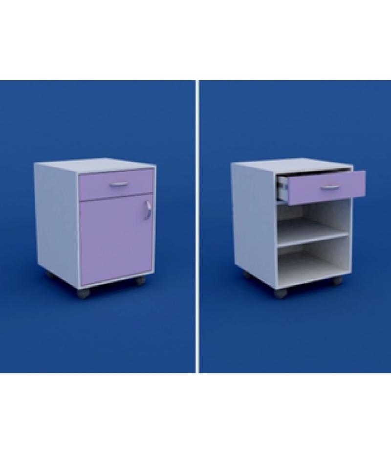 Тумба медицинская подкатная под рабочий  стол с 1 ящиком и дверкой МТ-1.03-ВТМ  450х470х650
