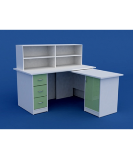 Стол на пост медицинской сестры МС-2.10-ВТМ  1500х750х750 (1200 высота с приставкой)- основной стол, 1450х560х730 - подставной стол