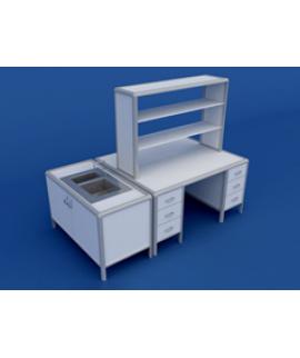 Стол для медлабораторий (для физических исследований) островной АСЛ-0.17-ВТМ  2200х1200х1500
