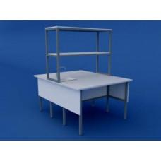 Стол лабораторный островной химический низкий ЛСХО-0.02-ВТМ  1500х1500х750/1350